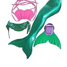 Mermaid Tail Swimwear Girls 4pcs Set Sparkle Mermaid Bikini Swimsuit Includes Monofin