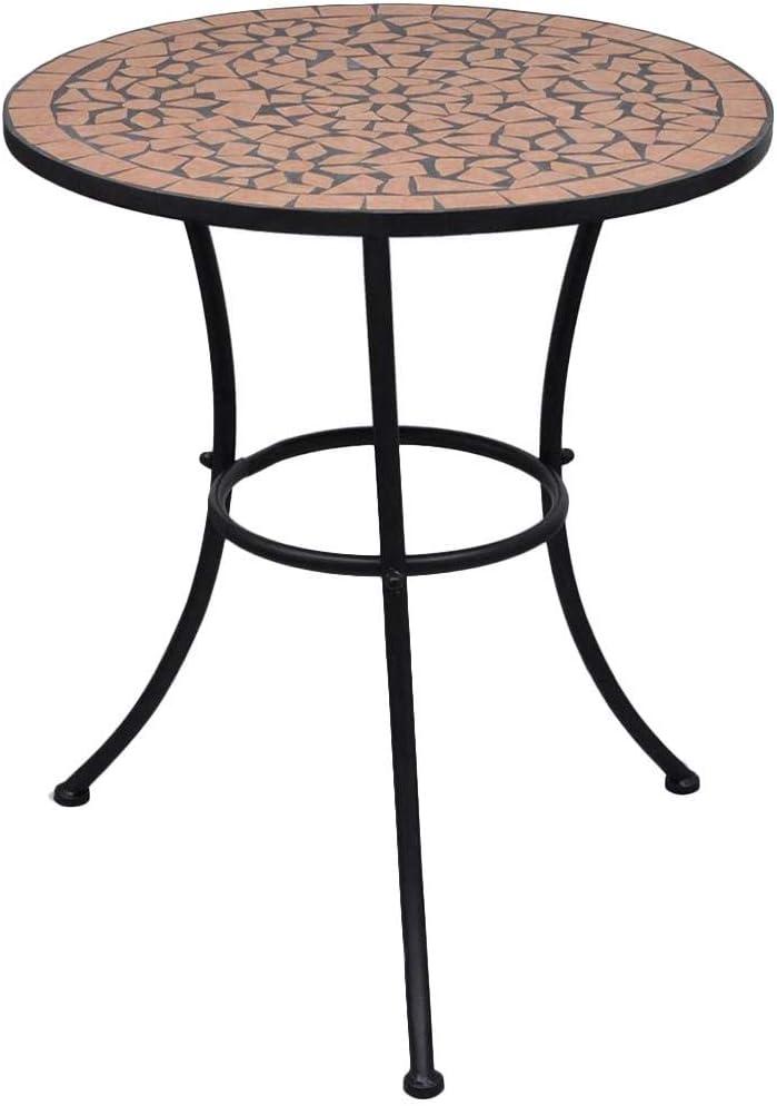 60cm Tavolo di Mosaico da Balcone Giardino Robusta Telaio in Ferro,Tavolo da Bistro Bianco e Nero SOULONG Tavolo con Mosaico Tavolini da caff/è in Ceramica