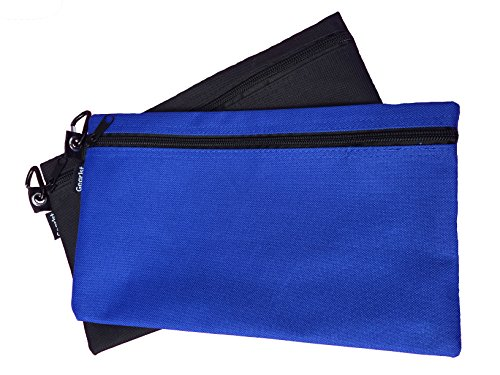 Zipper Bag Poly Cloth Value Pack of 2 Blue/Black Organize Storage Pouch Supplies Tools Cosmetics Money]()