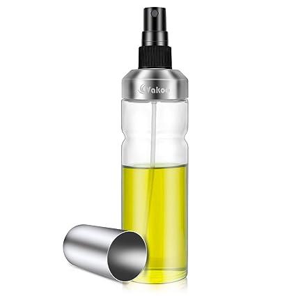 Vakoo Pulverizador Aceite, Oliva Oil Sprayer de Acero Inoxidable, Vinagre Botella de Vidrio Rociador