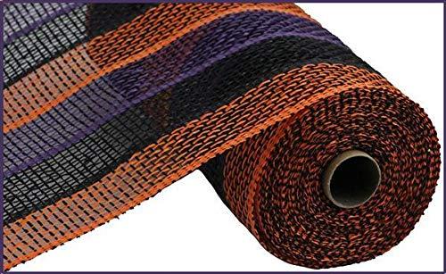 10 inch x 30 feet Poly Burlap Halloween Stripe Mesh Ribbon (10 Inch x 30 feet, Black Orange Purple)