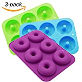 Ainko Donut Pan,6 Cup Non-Stick Baking Molds Set of 3 Silicone Baking Molds for Donuts,Durable Baking Kitchen Accessories Easy to Clean