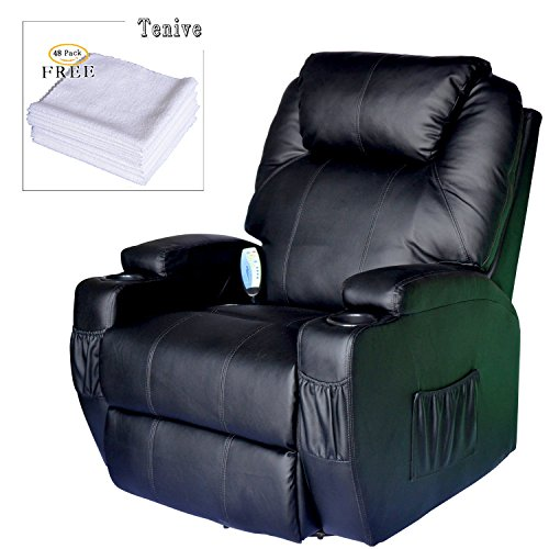 Tenive PU Leather Swivel Rocker Massage Recliner Chair with 8 Vibrating Nodes and Control Back- Black