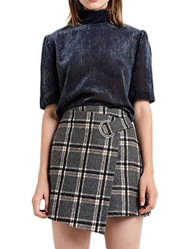 Tartan Wool Skirt - Haijie Women's Retro A Line Plaid High Waist Asymmetrical Mini Skirt.