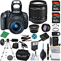 Canon Rebel T5i Camera + 18-55mm STM + 2pcs ZeeTech 16GB Memory + Case + Reader + Tripod + Starter Set + Wide Angle + Telephoto + Flash + Battery + Charger + Filter - International Version