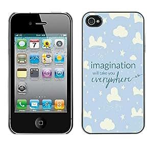 FECELL CITY // Duro Aluminio Pegatina PC Caso decorativo Funda Carcasa de Protección para Apple Iphone 4 / 4S // Sky Night Kid Blue Stars Clouds