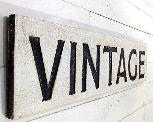 VINTAGE Sign Horizontal - Carved in a Cypress Board 40