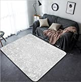 Vanfan Design Home Decorative 529246687 Snow flakes bokeh or glitter lights festive silver background Christmas abstract template Modern Non-Slip Doormats Carpet for Living Dining Room Bedroom Hallwa