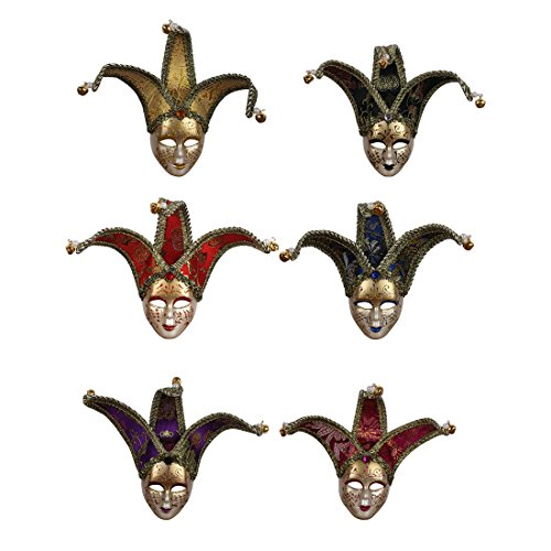 YUFENG 6pcs Set Multi Color Mini Mardi Gras Joker Masquerades Venetian Masks Party Decor Accessory,Party Favors -