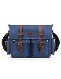 Kattee Classic Military Canvas Shoulder Messenger Bag Leather Straps Fit 16 inch Laptop (Blue)