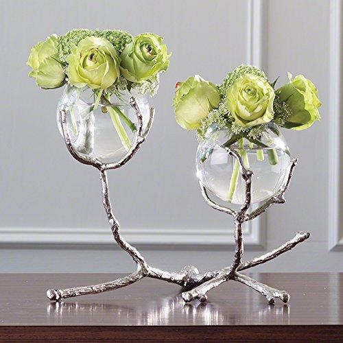 Modern Twig Branch Metal Glass Bud Vase | Silver Double 2 Centerpiece (Brass Bud Vase)