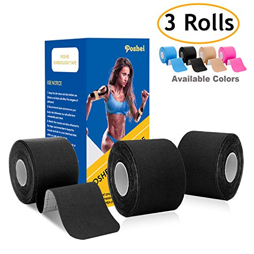 poshei Kinesiology Tape Precut (3 Rolls pack), Elastic Therapeutic Sports Tape - Pain Relief Adhesive Shoulder Knee Elbow Ankle, Waterproof, Breathable, Latex free, 2' x 16.5 feet Per Roll