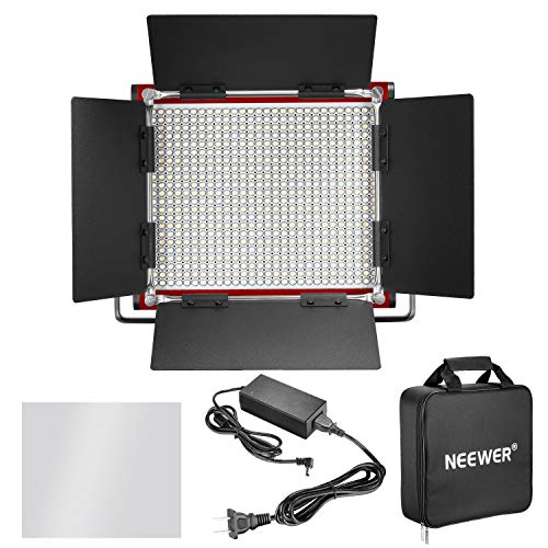 Neewer LED Video Light, Bi-Color Dimmable 660 Beads, Durable Metal Frame with U Bracket and Barndoor, 3200-5600K, CRI 96+ for Studio, YouTube, Product Portrait Photography, Video Shooting (Red) by Neewer (Image #1)