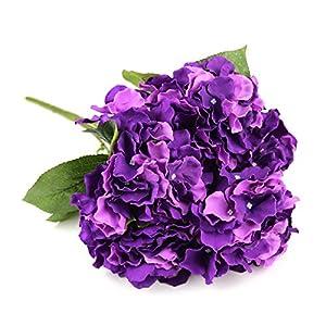 Silk Flower Arrangements Raylinedo Artificial Deep Purple Hydrangea Silk Flower 5 Big Heads Bouquet Home Decoration