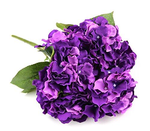 Raylinedo Artificial Deep Purple Hydrangea Silk Flower 5 Big Heads Bouquet Home Decoration