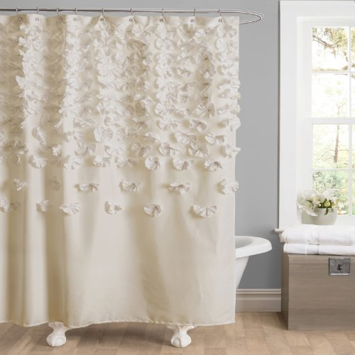 (Lush Decor Lucia Shower Curtain - Fabric, Ruched, Floral, Textured Shabby Chic, Farmhouse Style Design, 72