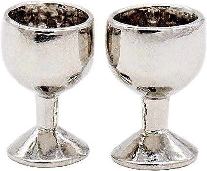 1//12 Dollhouse Miniature Silver Wine Cup Rack /& Goblet Kit Bar Kitchen Decor