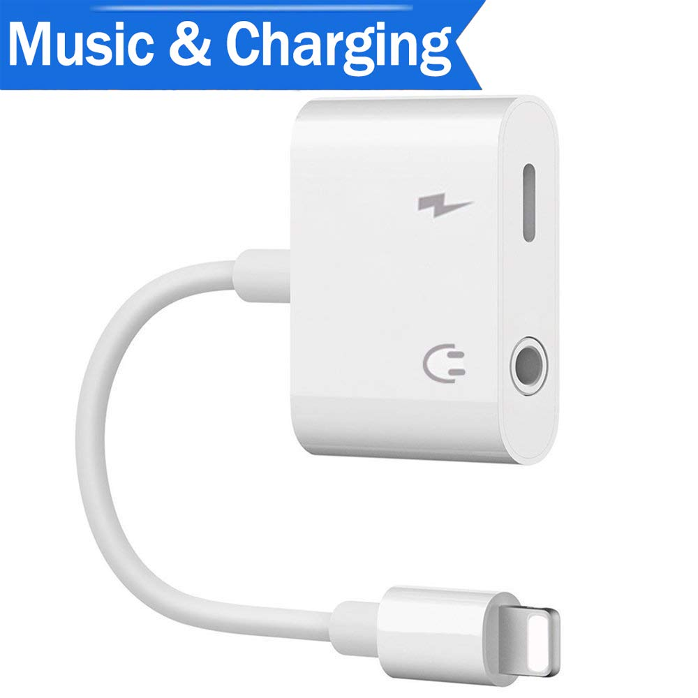 Lightinning Adapter Lightinning Jack Aux Audio Headphone Adaptor to 3.5mm for lphone7/7Plus/8/8Plus/X lpod lpad Earbuds Splitter with Music+Charge Earphone Conneter Support iOS 11 Systems and Later