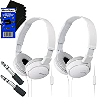 Sony MDRZX110AP ZX Series Extra Bass Smartphone Headset with Mic (White) + 3.5mm Mini Plug to 1/4 inch Headphone Adapter & HeroFiber Ultra Gentle Cleaning Cloth (2 pack)