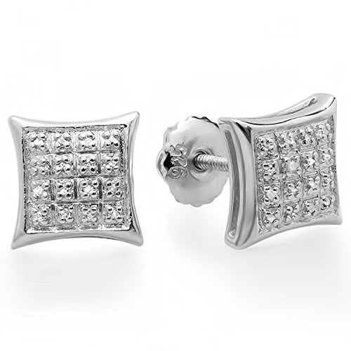 tinum Plated Sterling Silver Diamond Kite Shape Mens Hip Hop Iced Stud Earrings ()
