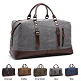 Cheap Queenie – Large Unisex Canvas Overnight Travel Tote Luggage Weekend Duffel Bag Shoulder Bag Gym Bag (Model 8655 Grey)