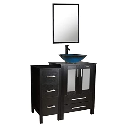 36black Bathroom Vanity And Sink Combo 05tempered Glass Vessel
