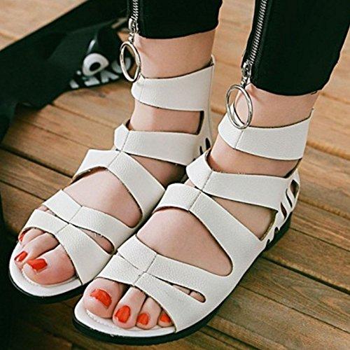 SJJH for Beige Sandals Large with Sandals Women Flat Roman Women Mini Fashion wHrSqwB