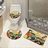 jwchijimwyc Retro U-shaped Toilet Floor Rug set Welcome to Hawaii American Pop Art Print with Aged Car Palms Tribal Mask and Surfboards 3 Piece Bathroom Rug Set Multi