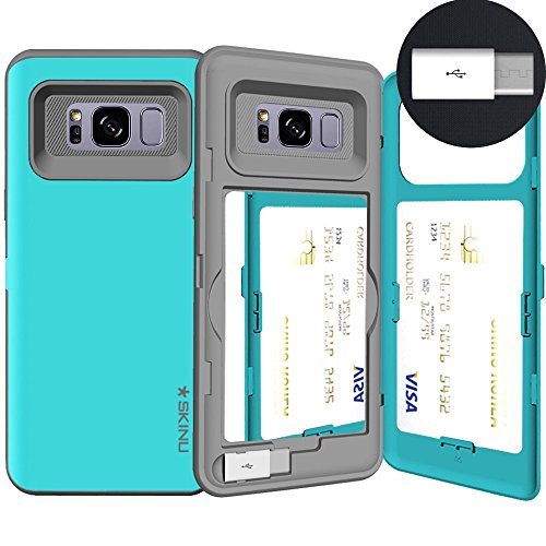 Samsung Galaxy S8, SKINU S8 Wallet Charger Dual Layer Hidden Credit [S8 Card Case] Holder ID Slot Card Case with Inner USB Type C Adapter and Mirror for Galaxy S8 (2017) - Teal