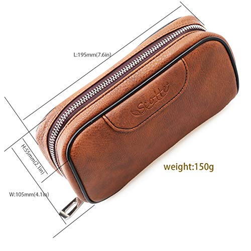 Scotte PU Leather tobacco Smoking Wood pipe pouch case/bag for 2 tobacco pipe and other accessories(Does not include pipes and accessories) by Scotte (Image #5)