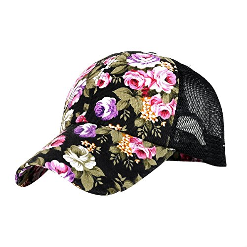 Newest trent Perforated Adjustable Sport Mesh Cap Sun Hat, Flower Floral Print Baseball Cap Golf Hats Tennis Hat for Women girls - Black