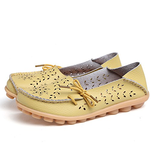 Lucksender Frauen aushöhlen Carving Casual Leder Fahren Flache Loafers Schuhe Apfelgrün