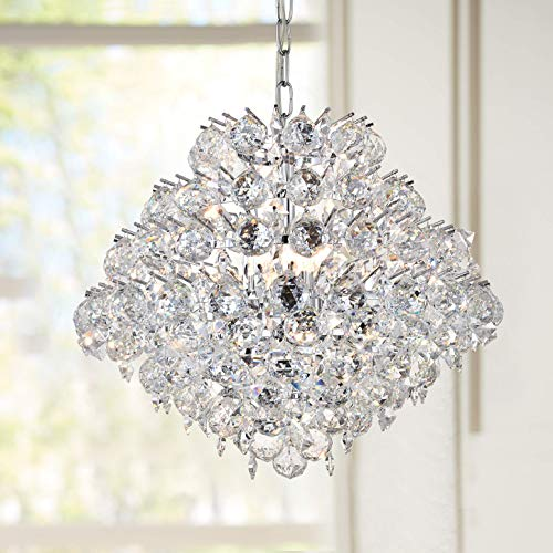 - Modern Pendant Chandelier Crystal Raindrop Lighting Ceiling Light Fixture Lamp for Dining Room Bathroom Bedroom Livingroom 8 E12 Bulbs Required D20 in x H16 in
