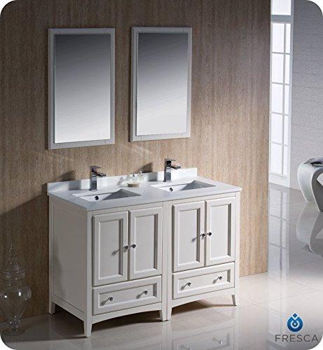 Fresca Bath FVN20-2424AW Oxford Double Vanity Sink, 48