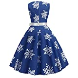 Clearance Forthery Women Christmas Sleeveless Flare Cocktail Dress Swing Dress with Belt(Blue, US Size L = Tag XL)