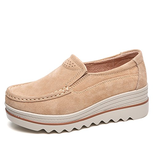 Sanyes Women Platform Slip On Loafers Comfort Suede Moccasins Wide Low Top Wedge Shoes SYSGX3088-Khaki-37