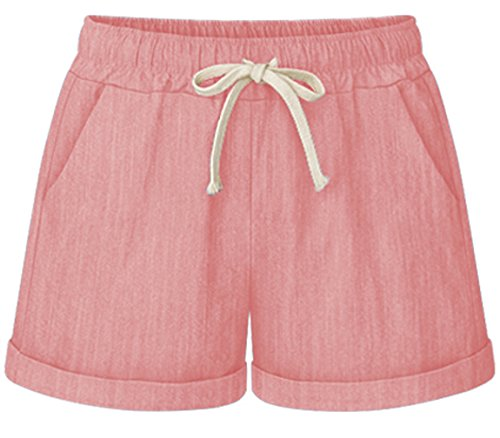 HOW'ON Women's Elastic Waist Casual Comfy Cotton Linen Beach Shorts with Drawstring Pink XXL by HOW'ON