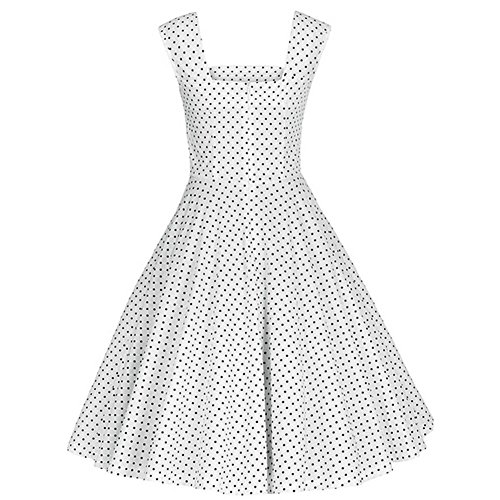 DISSA Weiß XL Rockabilly Cocktail Vintage Damen M1235 50er EU Retro Kleid 42 wWqz1wp8xr