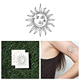 Tattify Sun And Moon Temporary Tattoo - Sol Y Luna (Set of 2) - Other Styles Available - Fashionable Temporary Tattoos - Long Lasting and Waterproof