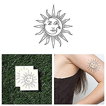 7244199ea0a43 Amazon.com : Tattify Sun And Moon Temporary Tattoo - Sol Y Luna (Set of 2)  - Other Styles Available - Fashionable Temporary Tattoos - Long Lasting and  ...