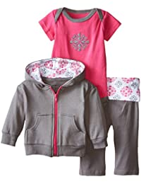 Yoga Sprout Baby Girls' Bodysuit, Pant, and Hoodie Set