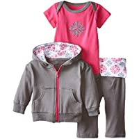 Yoga Sprout Baby-Girls 3 Piece Elephant Hoodie Bodysuit and Pant Set