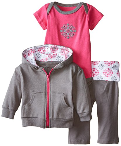 Yoga Sprout Baby-Girls 3 Piece Hoodie Bodysuit and Pant Set, Pink Medallion, 0-3 Months