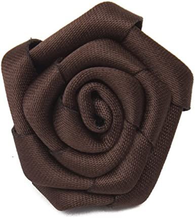 Sunny Home Mens Solid Satin Rose Lapel Flower Boutonniere