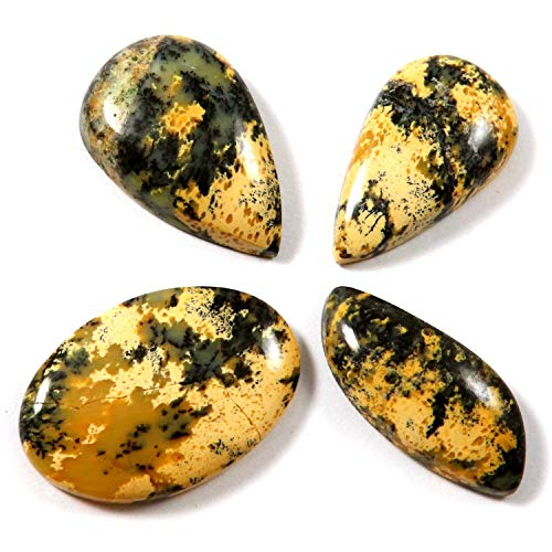 Gems&Jewels Honey Dendritic Agate Natural Cabochon Gemstone 4 Pcs Wholesale Lot 74.3ct LAX34