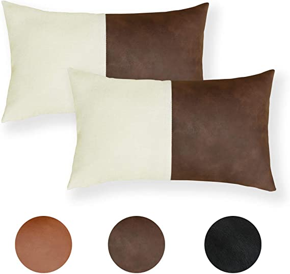 Amazon Com Faromily Lumbar Faux Leather With Cotton Linen Throw Pillow Covers Tan Leather Modern Minimalist Accent Rectangular Cushion Cases 12 X 20 Inch Set Of 2 Thick Brown Home Kitchen