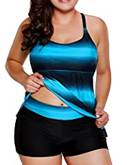 Dearlovers Women's Open Back Color Block Striped Tankini Set with Boyshort Swimsuit Swimwear       Strappy Hollow-out Back Tankini has an effective tummy flatten magic. The low neckline cut and bust parting line boast a plumpy breast, ...