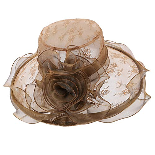 (QBQCBB Women's Church Derby Fascinator Cap Kentucky Tea Party Wedding Hat(Khaki))