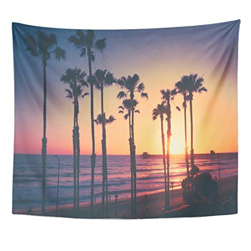 Emvency Tapestry Coast California Beach Sunset Ocean Pacific Palm Trees Pier Home Decor Wall Hanging for Living Room Bedroom Dorm 50x60 ()