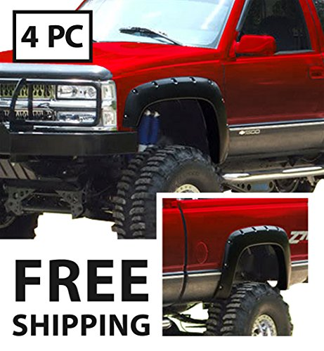 Premium Pocket Bolt-Riveted Style Fender Flares for 1988-1998 Chevy/GMC C/K Pickup/Blazer/Tahoe/Suburban/Yukon | Smooth Matte Black Paintable 4pc Gmc C1500 Rear Fender